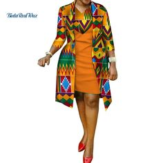 African cotton wax Print Dress and Suit Coat for Women – Afrinspiration Source by dress for kids Latest African Fashion Dresses, African Dresses For Women, African Attire, African Wear, African Women, Modern African Dresses, Dress Fashion, African Print Skirt, African Print Dresses