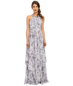 Donna Morgan Beaded Neck Gown Printed