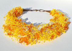 Amber necklace with yellow seed beads Amber jewelry by ensaga