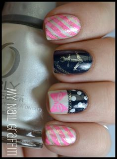 My Nail Graffiti: Girly Nautical Nail Art
