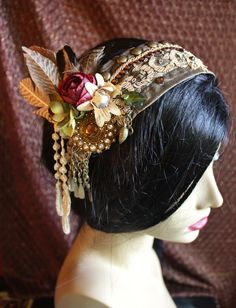 Tribal Fusion Headpiece- Hanging Gardens- Festival, Bellydance, Offbeat Wedding. $70.00, via Etsy.