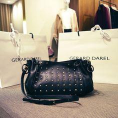 $375 GERARD DAREL BLACK LEATHER MINI 24HOURS STUDDED CROSSBODY DRAWSTRINGS BAG #GerardDarel #MessengerCrossBody