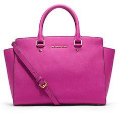 MICHAEL Michael Kors Selma Top-Zip Leather Satchel Bag, Raspberry