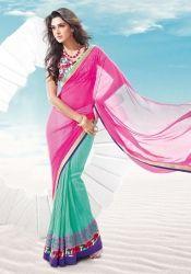 Vibrant Sea Green And Pink R Rajkumar Half And Half Saree