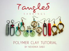 Polymer clay tutorial,  Tangled earrings, E-book, PDF tutorial, clay tutorial, Colorful earrings, DIY craft idea, Diy earrings by ArtStudioKatherine on Etsy https://www.etsy.com/listing/478180455/polymer-clay-tutorial-tangled-earrings-e