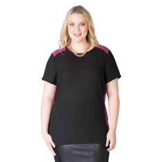 PRE-ORDER - Colour Blocked Woven Tee (BLACK/CYCLAMEN) $59.95 http://www.curvyclothing.com.au/index.php?route=product/product&path=95_104&product_id=6817
