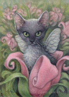 "Art by Lynn Bonnette: April 2010 ""Kittenfly Bellflower Fantasy"" Crazy Cat Lady, Crazy Cats, Gatos Cats, All About Cats, Rainbow Bridge, Art Plastique, Cat Art, Cute Cats, Funny Cats"
