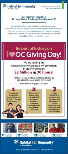 GET Ready! 30 Hour GIVING Challenge Starting - April 21st! Habitat For Humanity iheartOC.org