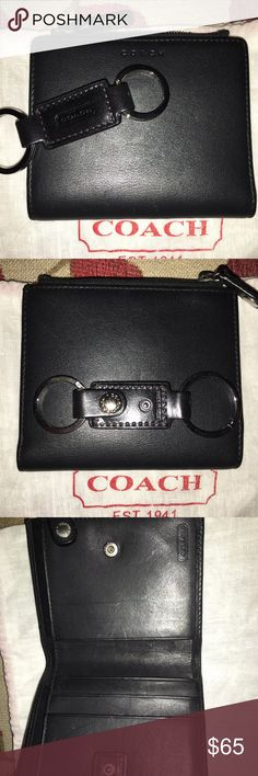 """NWOT Coach Wallet and Key Fob Beautiful Coach Black Smooth Leather Wallet and matching Key Fob! The wallet has 2 slots for cards, 2 slip pockets, a full size slip pocket for cash/receipts and a zip pocket for coins This wallet closes by snap! Measures approx 4 X 3.75"""" The key fob has 2 O rinds and a snap on it to hook it to something so not to lose your keys it measures approx 3"""" includes dust bag perfect gift your your man! Coach Bags Wallets"""