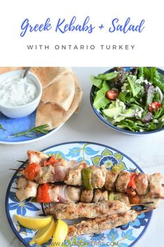 Greek Kebabs + Salad | Turkey Farmers of Ontario | Sponsored | Summer BBQ Recipes | Grilling with Ontario Turkey | Homemade Greek Dressing | Greek Marinade | Healthy Meat Alternatives | Ontario Turkey Makes It Super #turkeyrecipes #healthyeating #easymeals