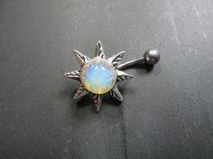 Light Opal Starburst Belly Button Ring Navel by Azeetadesigns #azeeta, #designs, #opal, #starburst, #belly, #ring, #piercing, #silver, #sun, #handmade, #jewelry,