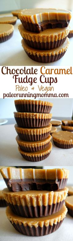 Great way to package fudge for gift giving! Paleo, vegan, easy to make and fast! These chocolate caramel fudge cups are out of this world incredible and impossible to resist! Paleo Dessert, Gluten Free Desserts, Dairy Free Recipes, Healthy Desserts, Real Food Recipes, Dessert Recipes, Yummy Food, Healthy Recipes, Paleo Vegan