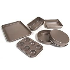 Cuisinart AMB-6CH 6-Piece Classic Bakeware Set, Champagne (This is an affiliate pin) Square Cake Pans, Square Cakes, Round Cake Pans, Round Cakes, Stove Top Oven, Wall Mounted Bookshelves, Pot Rack, Hanging Racks, Wall Bar