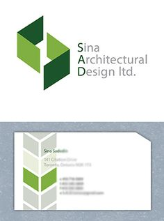 """""""Sina Architecture"""" has stylized walls to reinforce the notion of building planning. Logo and business card design by Fusion Studios Inc. Business Card Design, Business Cards, Logo Creation, Corporate Identity, Toronto, Architecture Design, Studios, Logo Design, Walls"""
