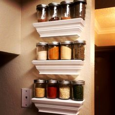 mason jar spice rack the answer to my spice problem yay living in the round projects. Black Bedroom Furniture Sets. Home Design Ideas