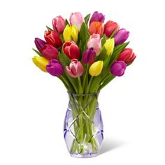 "FTD® proudly presents the Better Homes and Gardens™ Spring Tulip Bouquet just in time to celebrate the coming of spring! Tulips in a stunning array of colors including red, yellow, purple and pink are presented in a sparkling, heavy, cut glass vase that shimmers with just a hint of lilac purple. Choose this joyful tulip bouquet to send your happy birthday wishes, offer your congratulations or to say ""thank you,"" and your thoughtfulness will be remembered for many years"