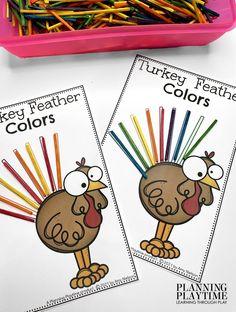 Turkey Feather Color Patterns. - Kindergarten Morning Tubs Kindergarten Age, Kindergarten Activities, Activities For Kids, Preschool, Kid Check, Turkey Feathers, Colorful Feathers, Learning Through Play, Autumn Theme