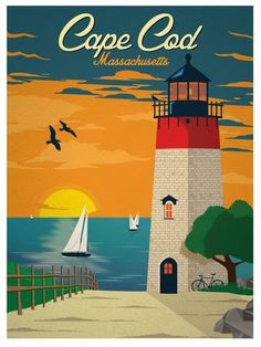 POSTER CAPE COD OCEAN LIGHTHOUSE SEAGULLS TOURISM TRAVEL VINTAGE REPRO FREE S//H