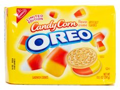 Candy Corn Oreos – A twist on the original Oreo cookie, Candy Corn Oreos combine milk's best friend with Halloween's signature candy. The Oreo filling has the color and flavor of candy corn for a tasty Halloween treat. Corn Sandwich, Sandwich Cookies, Oreo Cookies, Weird Oreo Flavors, Cookie Flavors, Candy Corn Oreos, Nabisco Oreo, Snack Recipes, Snacks