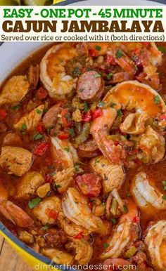 cajun cooking Easy Jambalaya made with Chicken, Shrimp and Andouille Sausage in under 45 minutes. Served over rice or rice cooked with the jambalaya for one pot meal. Easy Chicken Dinner Recipes, Shrimp Recipes Easy, Seafood Recipes, Easy Meals, Sausage And Shrimp Recipes, Seafood Meals, Recipe Chicken, Shrimp Gumbo Recipes, Meals Made With Chicken