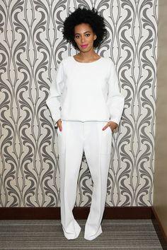 white sweater + white pants