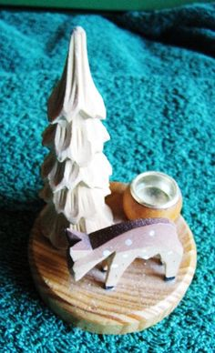 Vtg Scandinavia Wood Table decoration plaque deer tree Candle holder Aarikka?