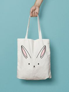 Bunny Rabbit Tote Bag Canvas Printed , Market Bag, Totes are that universal  product that everyone needs and uses. A book bag, a grocery bag, ... 2626c259c45
