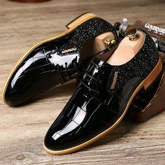 Vintage Dress Shoes Men Oxfords Shoes For Men Formal Shoes Leather Men Flats Brown Black Blue