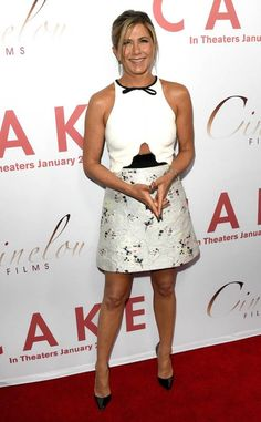 <p>Roberto Cavalli has never looked better than it does on Aniston.</p>
