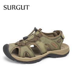0bdf211f3 Plus Size Men Sandals Genuine Leather Fashion Summer Shoes Men Slippers  Breathable Men s Sandals Causal Shoes Leather Shoes USA size