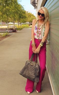 Shop this look on Lookastic:  https://lookastic.com/women/looks/sleeveless-button-down-shirt-wide-leg-pants-pumps-tote-bag-sunglasses-necklace-bracelet-watch/10547  — Black Sunglasses  — Gold Necklace  — White Floral Sleeveless Button Down Shirt  — Beige Leather Pumps  — Dark Brown Leather Tote Bag  — Hot Pink Wide Leg Pants  — Gold Bracelet  — Gold Watch