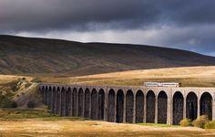 Train on the Settle to Carlisle railway crossing the Ribblehead viaduct