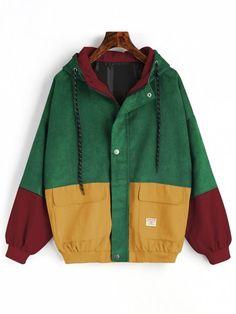 Hooded Color Block Corduroy Jacket - GREEN M