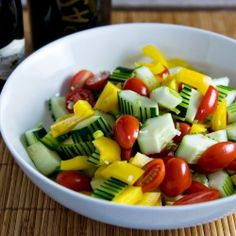 Decoratively scored cucumbers and 25 year old balsamic vinegar make this simple salad something special.
