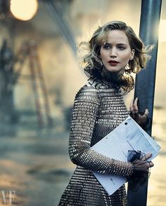 """Jennifer Lawrence, V.F. Holiday 2016 cover star and art collector: """"Fuck it. I am the person who has an acrylic painting of her dog."""" Read the full cover story at the link in bio. Photograph by @therealpeterlindbergh."""