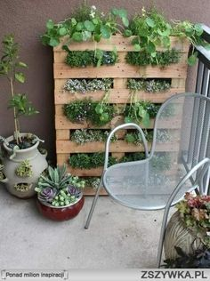 Increase growing space on a tiny balcony with this DIY pallet garden. Increase growing space on a tiny balcony with this DIY pallet garden. Apartment Patio Gardens, Apartment Plants, Apartment Backyard, Apartment Living, Vertical Gardens, Small Gardens, Mini Gardens, Vertical Planting, Modern Gardens