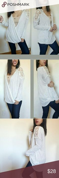 |new | OATMEAL CROCHET SURPLICE TOP This top though! Amazingly comfy and cute for everyday life. Lightweight material. Crochet detail on shoulders. Surplice front. Longer in back. Love it!  Fabric Content:  Sizes available: S M l  Modeling size Medium   PRICE FIRM   Tops