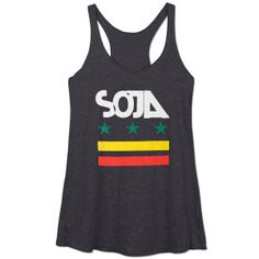 Black ladies' racerback tank top featuring white SOJA logo and green, yellow, and red stars and bars artwork on front. American Apparel, 50% polyester/25% combe