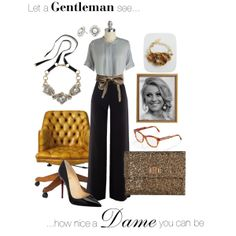 """I love this silhouette. Warm up gray and black with warm tones in a bracelet, bag, or belt. Spruce up a simple outfit with just the right amount of sparkle! Ladylike, elegant, simple, modest, work, teacher, office, sparkle, neutrals, feminine, black wide-leg trousers, """"Untitled #4"""" by jv8305 on Polyvore"""