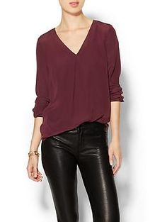 To fill the burgundy hole in my closet // Tinley Road Samara V Neck Pleated Top | Piperlime