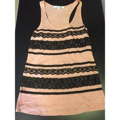 Laced Flowy Dress Color: salmon & black Style: casual  Fit: loose  Condition: good  How to Wear: with leggings or jeans  NO trades, NO PayPal, and will consider reasonable offers NOT UO, BM just for listing ❤️❤️ Brandy Melville Tops Tank Tops
