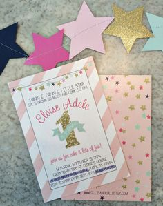 Twinkle Twinkle Little Star 1st Birthday Invitations - adorable!