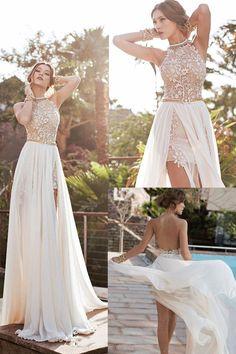 Ivory A-line/Princess Wedding Dresses, A-line Long Wedding Dresses, A-line Sexy High Neck Lace Bodice Beach Wedding Dress,Ivory Chiffon Prom Dress #weddingdresses #longpromdresses #beachwedding #lacedresses #fashiondresses
