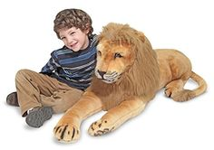 With excellent craftsmanship and keen attention to detail, this regal-looking lion is sure to be an instant favorite. The plush body and long furry mane make him huggable. Lion Toys, Pet Toys, Large Stuffed Animals, Toy Barn, Melissa & Doug, Animal Nursery, Plush Animals, Lion Sculpture