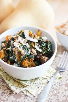 Butternut Squash, Kale & Ground Beef Breakfast Bowl - change spices for AIP