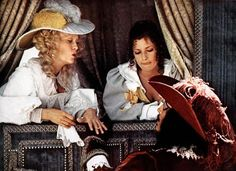 """Christopher Lee, as the villainous Count De Rochefort, meets Milady de Winter (Faye Dunaway) in Richard Lester's 1973 romp, """"The Three Musketeers."""" With Nicole Calfan. Milady De Winter, Musketeer Costume, Richard Lester, Faye Dunaway, The Three Musketeers, Raquel Welch, Movie Costumes, British Actors, Staying Alive"""