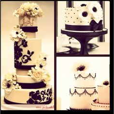 More black and white wedding cakes