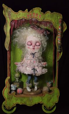 Miss Polly had a Dolly - (via Shadow Box Art, Haunted Dolls, Doll Display, Gothic Dolls, Collage Art Mixed Media, Dream Doll, Halloween Doll, Art Sculpture, Creepy Dolls