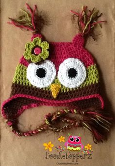 Adult Teenage Owl Hat Pink Green Brown Flower by Doodlebopperz GAG! I want it for the niece she would go crazy over this super cute