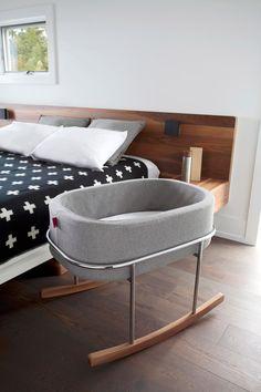 Modern Nursery Rockwell Bassinet - Heather Grey Basket/Chrome/Walnut Base shown.